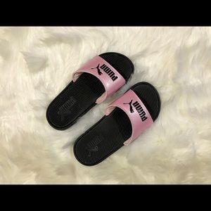 Pink & Black Puma Slides. Size 6 in Women's